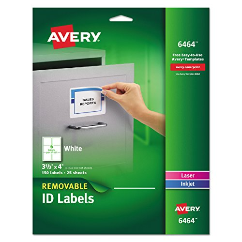 Avery Removable 3-1/3 x 4 Inch White ID Labels 150 Pack (White Id Label)