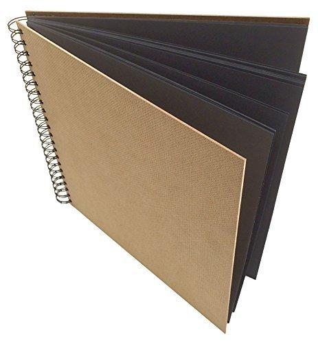 Artway ENVIRO Quadrat Skizzenbuch, 28.5 cm x 28.5 cm großes, spiral-gebundenes Sketchbuch, 60 Seiten, recycletes, schwarzes Papier/Zeichenkarton, 270 g/m2, mit schwarzer Doppelspirale und natürlichen Hartfaser-Deckeln