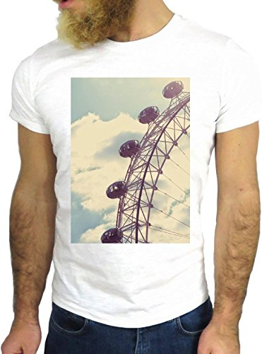 T SHIRT JODE Z1908 FERRIS WHEEL LONDON VINTAGE SKYLINE FUN COOL FASHION NICE GGG24 BIANCA - WHITE S