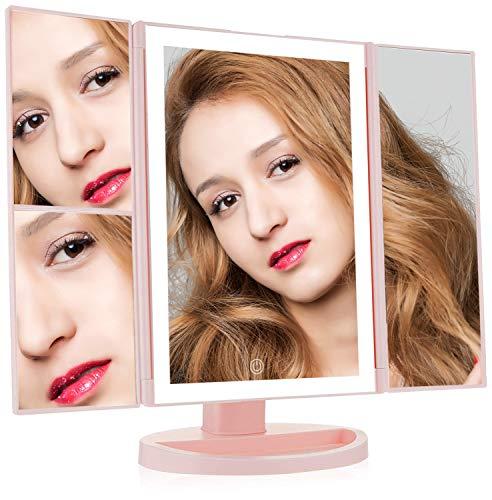 vanity mirror,fingerprint-proof mirror surface detachable design,LED light makeup mirror