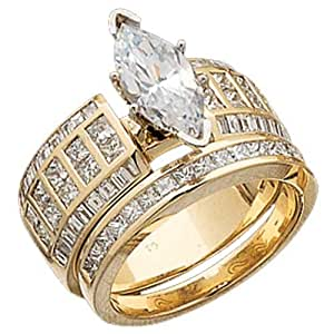 14K Yellow Gold Diamond Semi-Mount Marquise Wedding Ring Set (Center stone is not included)