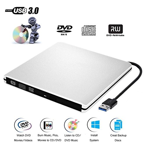 External DVD CD Drive USB 3.0 Burner Writer Drive Player for Laptop/ Desktop / Macbook / Mac OS / Windows10 /8/ 7 / XP / Vista