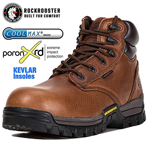 ROCKROOSTER Work Boots for Men, Composite/Soft Toe Waterproof Safety Working Shoes / AT697-P, ()