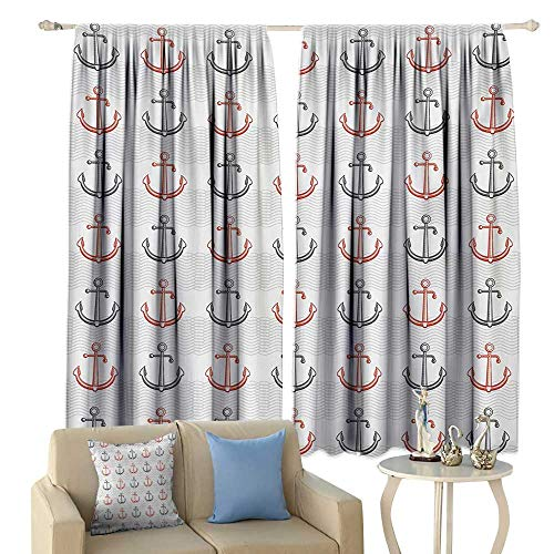 Tidefree Thermal Insulated Drapes for Kitchen/Bedroom Anchor Marine Pattern with Sketchy Anchor Motifs and Abstract Waves Retro Style Noise Reducing Vermilion Black Beige
