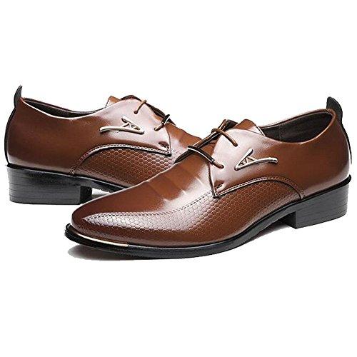 Herren Leder Schuhe Lace-up Spitzschuh Schuhe Hochzeit Business Oxfords Schuhe Braun