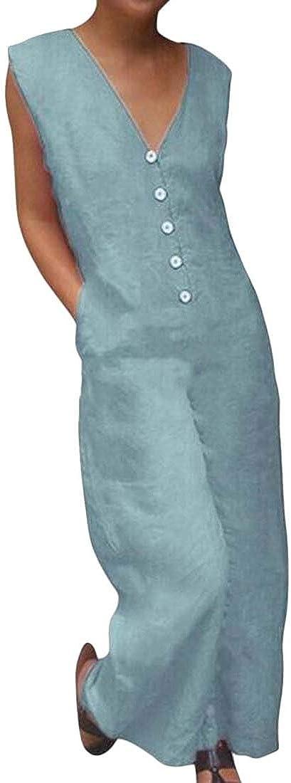 Fubotevic Women V-Neck Short Sleeve Solid Color Cotton Linen Summer Buttons Jumpsuit Romper