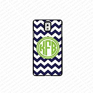 krezy case monogram Galaxy Note 4 case- monogram Personalized dark blue chevron with green initial chevron samsung Galaxy Note 4 case- fits note 4 case, at&t, verison, T-mobile.sprint and international (white) by runtopwell