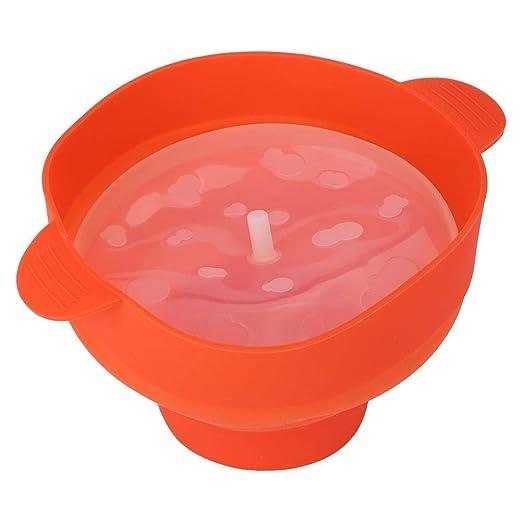 Cubo de palomitas de maíz de silicona para microondas con tapa con ...