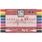 Zig Memory System Scroll and Brush Dual-Tip Markers, Multicolor, 8-Pack