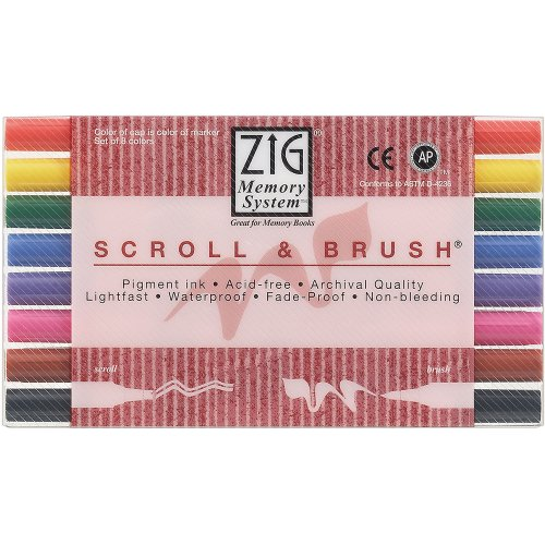 - Zig Memory System Scroll and Brush Dual-Tip Markers, Multicolor, 8-Pack