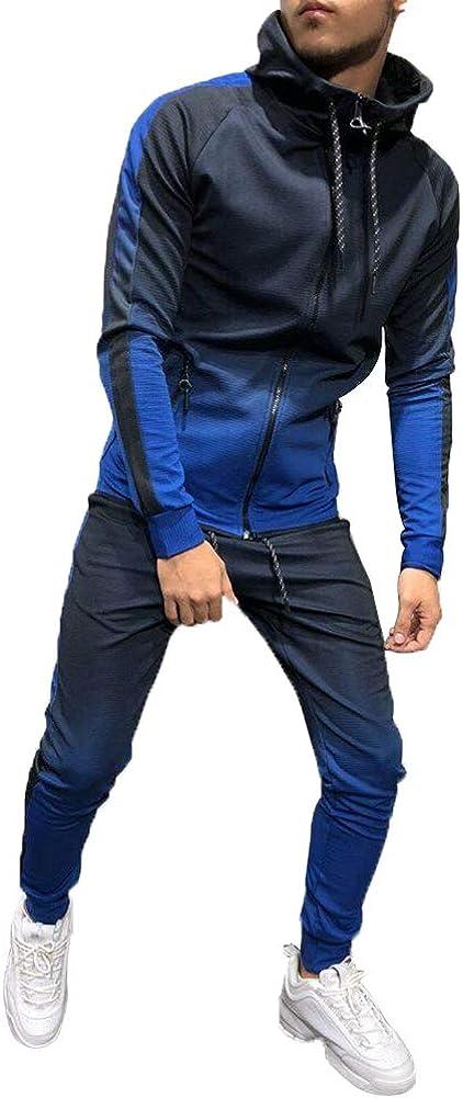 Geagodelia Chándal deportivo de manga larga para hombre, sudadera con pendiente para otoño e invierno, 2 unidades de chándal de algodón para gimnasio