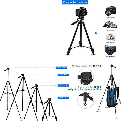 170cm 67 inch Portable Camera Tripod Stand Holder Adjustable