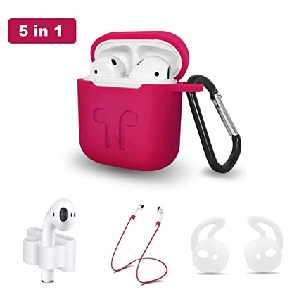 6a67bcfb65a Airpods Case, Airpods Accessories Kits, 5 in 1 Protective Silicone Cover  and Skin for