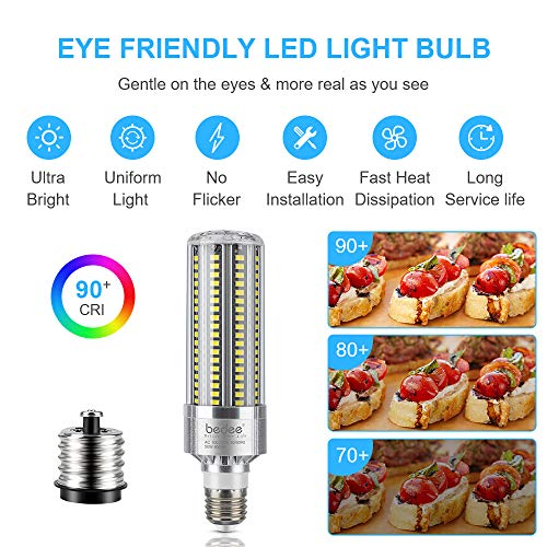 Bedee LED Light Corn Bulb 350W Equivalent, 50W LED Bulb Replacement with E26 & E39 Mogul Base 6500LM 6500K, Daylight White Indoor Outdoor LED Light Bulb, Super Bright for Commercial & Industrial Area