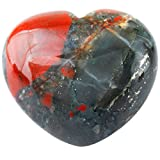 SUNYIK Natural Africa Bloodstone Carved Puff Heart Pocket Stone,Healing Palm Crystal Pack of 1(1.6'')