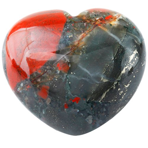 (SUNYIK Natural Africa Bloodstone Carved Puff Heart Pocket Stone,Healing Palm Crystal Pack of)
