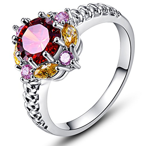 Veunora Beautiful Flower Design 925 Sterling Silver Created Garnet Filled Ring for Women Size 8