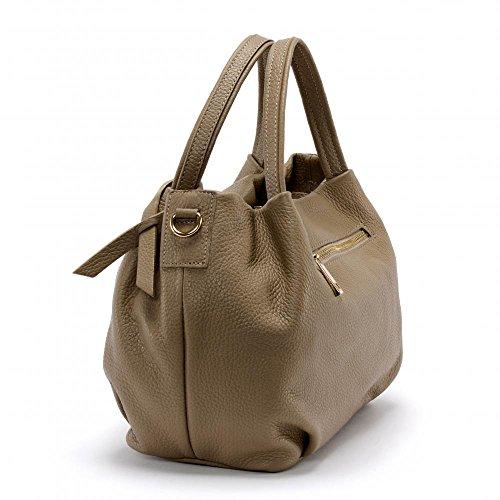 Oh My Bag–Bolso de mano mujer piel bolso de mano y bandolera modelo Bubble Nouvelle Collection TAUPE FONCE