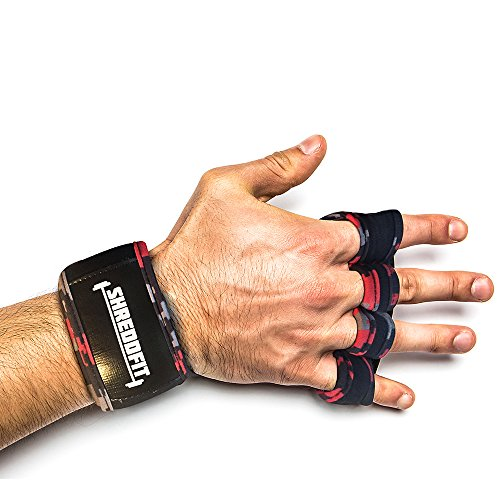 ShreddFit WOD Gym Gloves, Medium, Red Camouflage