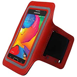 Red ArmBand Workout Case Cover For Samsung Galaxy Avant G386 with Free Pouch
