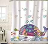 Cute Shower Curtains Sunlit Colorful Geometric Whale Waves Bubble Shower Curtain with Cute Marine Life Tropical Fish Shrimp, Fairy Tale Children Illustration Cartoon Abstract Bathroom Decor for Kids and baby White