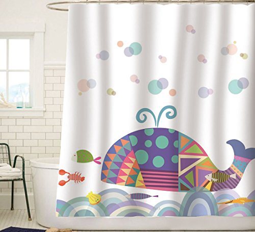 Sunlit Colorful Geometric Whale Waves Bubble Shower Curtain with Cute Marine Life Tropical Fish Seashell Shrimp, Fairy Tale Children Illustration Cartoon Abstract Bathroom Decor for Kids White