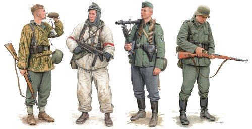 Dragon Models German Elite Infantry Russia 1941-43 Model Building Kit (4 Figures Set), Scale 1/35
