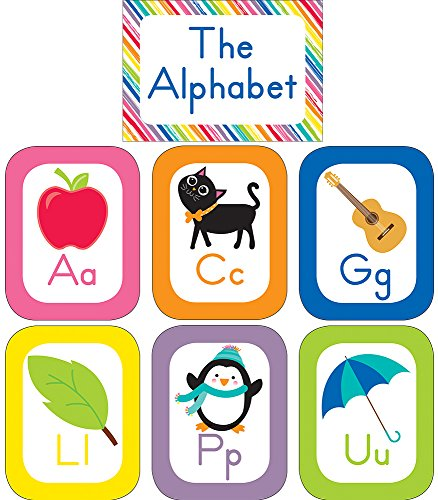Schoolgirl Style Decorative Just Teach Alphabet Cards Bulletin Board Set (110392) ()