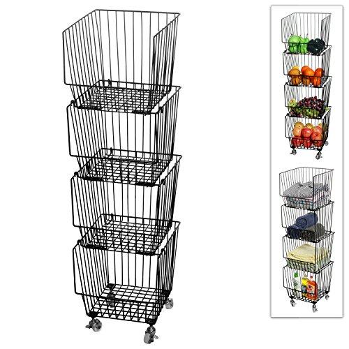 Set of 4 Stackable Rolling Black Metal Wire Produce Storage Rack/Kitchen Pantry Organizer Bin w/Wheels