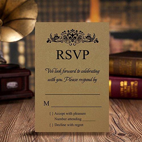 Doris Home Gold RSVP Cards with White envelopes, 50 pcs/lot