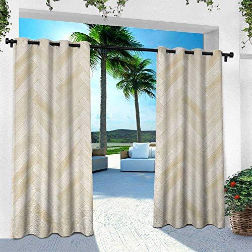 Hengshu Beige, Outdoor Curtain Waterproof Rustproof Grommet Drape,Realistic Wooden Floor Chevron Oak Parquet Artprint Urban Modern Diagonal Decorative Home, W84 x L108 Inch, Beige