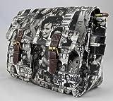 señoras, patentes, cartera, bolso, portada de revista, negro, gris