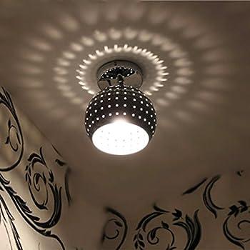 ZEEFO Mini Led Ceiling Light Energy Saving Dome Lamp Chrome Finish Flush Mounted Lighting