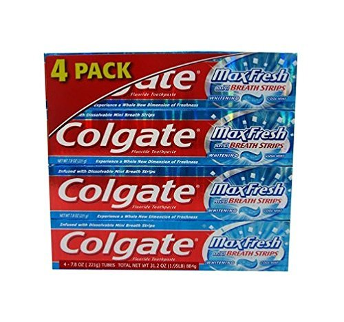 Colgate Max Fresh Gel Toothpaste, Fluoride, Cool Mint, with Mini Breath Strips, 7.8 Ounces (Pack of 4) Colgate Max Fresh Toothpaste