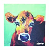 Creative Co-Op Casual Country Canvas Art with Cow, 12-Inch Square