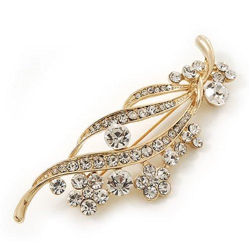 """Broche mariée """"florale"""" cristal Swarovski transparent en plaqué or"""