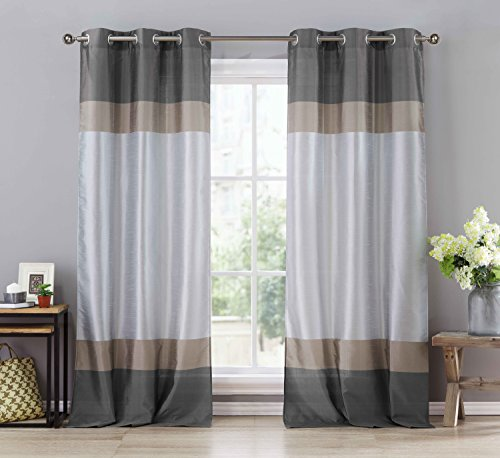 Two (2) Silver Gray and Taupe Window Curtain Panels: Faux Silk, Silver Grommets, 78″ x 96″