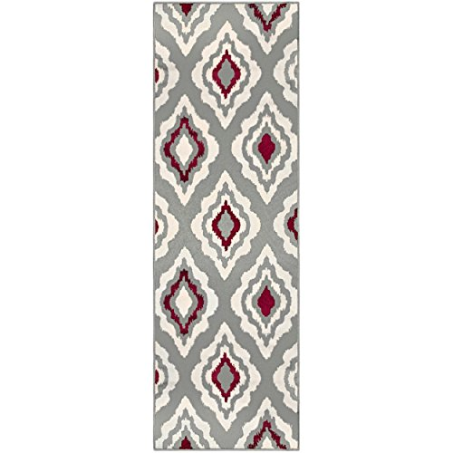 (Superior Diamond Collection Area Rug, 8mm Pile Height with Jute Backing,  Contemporary Geometric Ikat Pattern, Fashionable and Affordable Woven Rugs, 2'7
