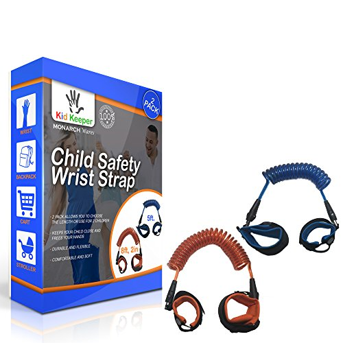 [2-PACK] KID KEEPER - Child Safety Wrist Strap / Anti Lost Wrist Link Safety Wrist Link for Kids, Toddlers, & Babies