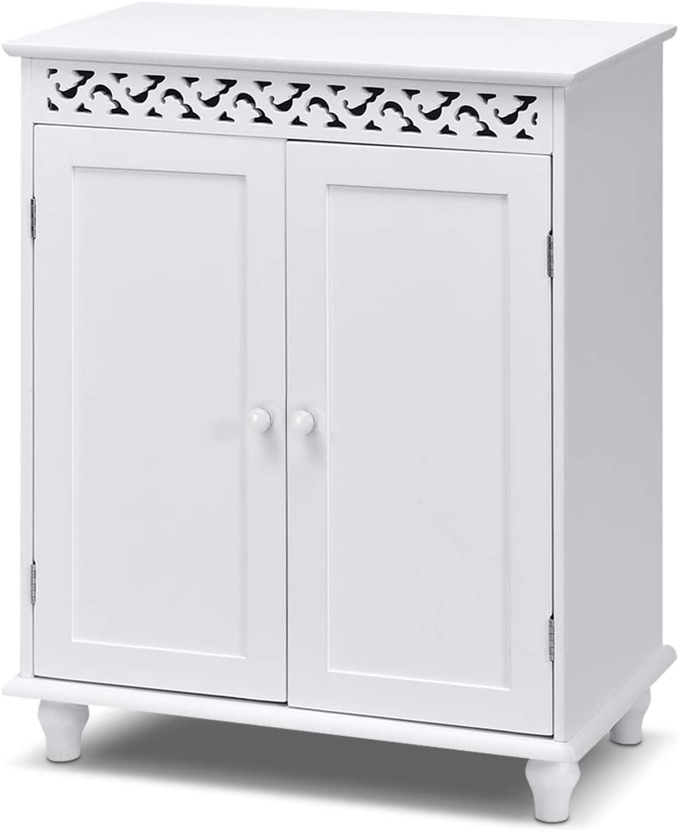 GLACER Bathroom Floor Cabinet, freestanding Bathroom Storage Cabinet with Double Doors, Suitable for Bathroom, Living Room, Bedroom, Hotels, 24 x 13.5 x 30.5 inches White
