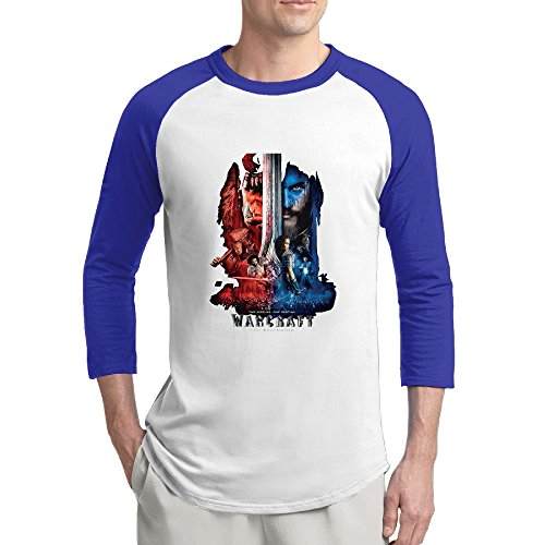 Warcraft Mens Hot Topic 100% Cotton 3/4 Sleeve Athletic Baseball Raglan Sleeves T-Shirt RoyalBlue US Size XXL]()