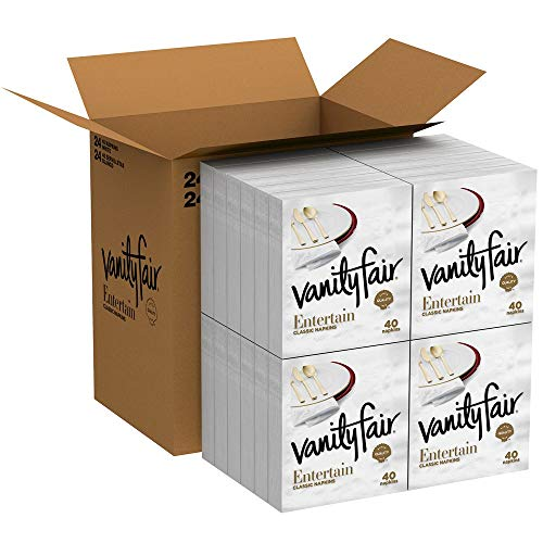 Vanity Fair Entertain Dinner Napkins, 960 Count Paper Napkins (24 Packs of 40 Napkins)