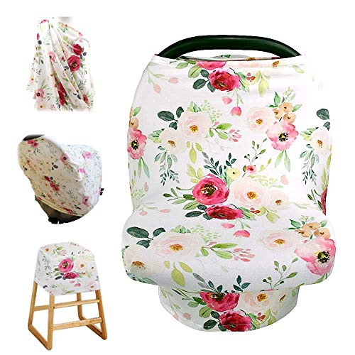 Stretchy Baby Car Seat Cover for Baby Boys and Girls,Multiuse - Nursing Breastfeeding Covers,Shopping Cart/High Chair/Stroller Covers,Infinity Scarf,Car Seat Canopies(Retro Flower)