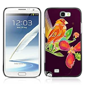YOYOSHOP [Beautiful Abstract Bird & Floral Purple] Samsung Galaxy Note 2 Case