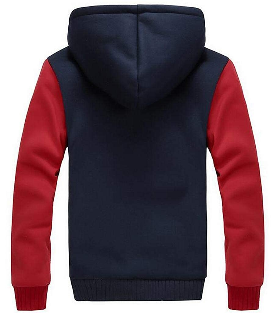 Fubotevic Mens Warm Color Block Lamb Wool Lined Plus Size Hoodies Sweatshirt Jacket Coat