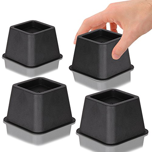 DuraCasa Bed Risers, Raises Your Bed or Furniture To Create an Additional 3 Inches of Storage! Reinforced New Heavy-Duty Design To Hold Over 2000 LBS! Desk, Sofa, and Chair Lift (Set of 4 Risers)