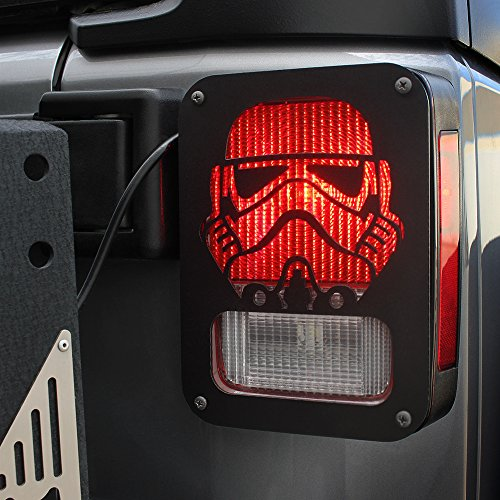Xprite 2007-2018 Jeep Wrangler JK Unlimited Black Light Guard Stormtrooper For Rear Taillights ( Tail Light ) Cover – Pair