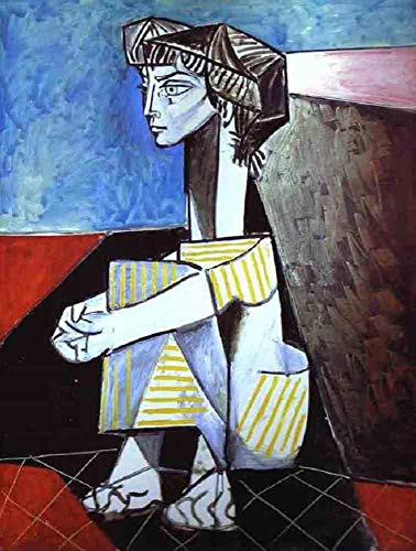 Neron Art Pablo Picasso Jacqueline Kneeling, 1954 - Original Abstract Canvas Paintings Hand Painted Reproduction Rolled - 70X90 cm (approx. 28X36 inch) for Wall Decoration ()