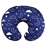 Minky Nursing Pillow Cover/Nursing Pillow Slipcover Soft Fits Snug On Infant Nursing Breast Feeding Pillows (Navy Blue, Stars and Clouds): more info