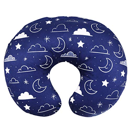 Minky Nursing Pillow Cover/Nursing Pillow Slipcover Soft Fits Snug On Infant Nursing Breast Feeding Pillows (Navy Blue, Stars and Clouds)